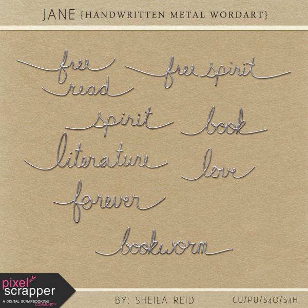 Jane - Handwritten Metal Wordart